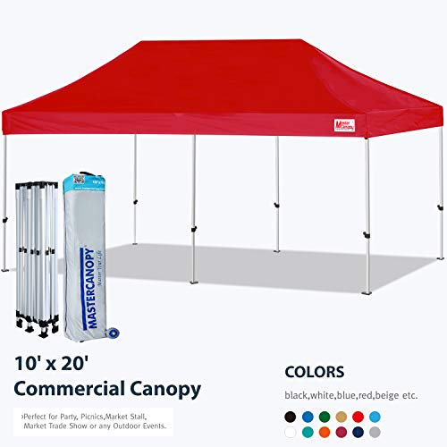 MASTERCANOPY Pop Up Canopy Tent 10x20 Commercial Instant Canopies with Heavy Duty Roller Bag,Bonus 4 Canopy Sand Bags (10x20 Feet, Red)