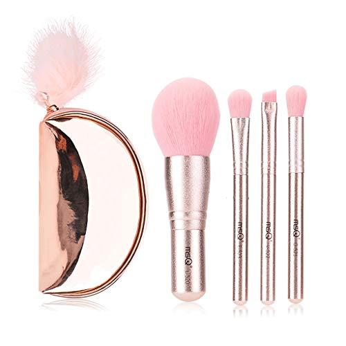 Hasey Ensemble De Pinceau De Maquillage Mini Portable - Rose 4pcs Pinceau De Maquillage pour Cheveux Cheveux Synthétiques Fard À Paupières avec Mini Sac