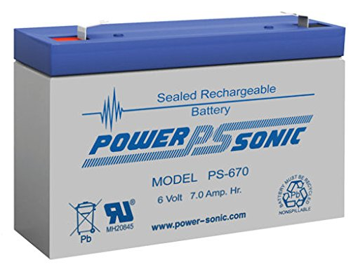 Bleiakku - Akku Powersonic PS 670 - Powersonic PS670 - Powersonic PS-670 - 6V 7,0Ah - Rechargeable Sealed Lead Acid (SLA) Battery - AGM / Blei Vlies