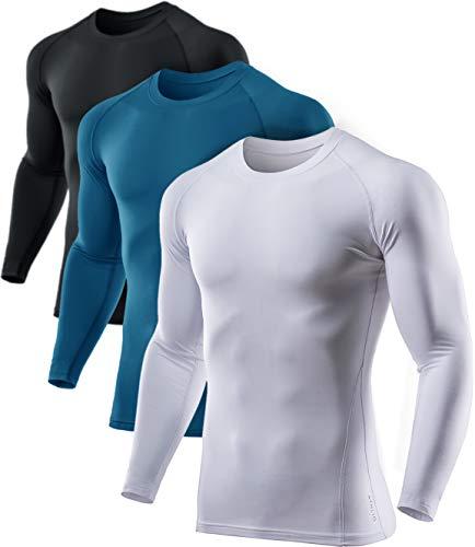 ATHLIO Herren Kompressions-Baselayer (1 oder 3 Stück) Thermo-Wintergarten-Unterhemd langärmlig, Herren Unisex Damen Erwachsene, 3pack(lyd03) - Black/ White/ Teal, Small