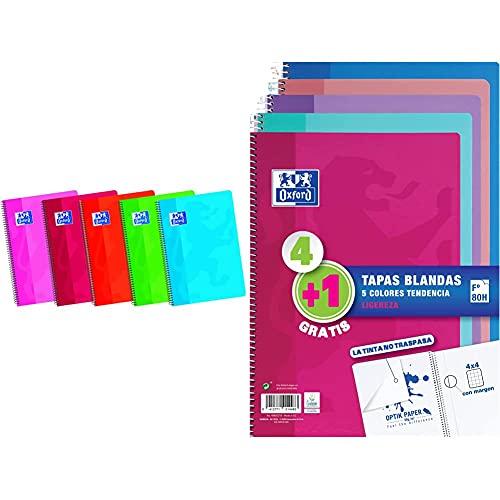 Oxford Classic 100430601 Cuaderno Espiral De Tapa Blanda, 80 Hojas, Colores Surtidos + Cuadernos A4,Tapa Blanda, 80 Hojas