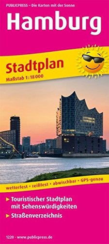 Hamburg: Touristischer Stadtplan mit Sehenswürdigkeiten und Straßenverzeichnis. 1:18000 (Stadtplan: SP)