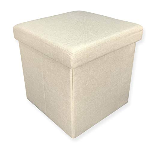 tex family Boîte Pouf Repose-Pieds Tissu Taylor Beige