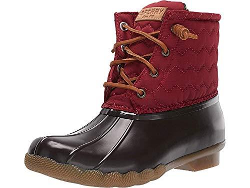 Sperry Womens Saltwater Chevron Quilt Nylon Boots, Wine, 8.5