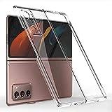 XJZ Compatible para Samsung Galaxy Z Fold 2 Funda(2020)+3D Vidrio Templado Protector de Pantalla/Carcasas Ultra Fina Silicona Caja,Bumper 360°Protectora Cojín Skin Case Caso Cover-Transparente