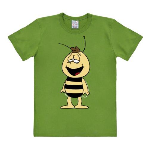 Logoshirt Herren T-Shirts  Easy Fit Biene Maja - Willi, Rundhals  - Grün - Green (Light Olive) - Small (Herstellergröße: Small)