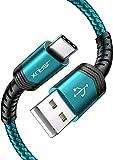JSAUX Cable USB C [1M+2M,2Pack] Duradera 3A Cable USB Tipo C Carga Rápida Nylon Trenzado para Samsung S20 S10 S9 S8 Plus A3 A5 2017 Note10 9 8,Xiaomi Mi A1 A2,Huawei P10 P9,Google Pixel,LG,Sony-Verde