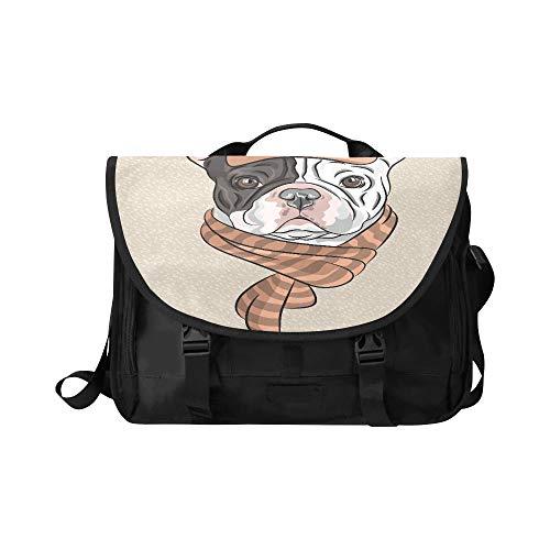 Reise-Umhängetaschen Hipster-Hund Französische Bulldogge Rasse in Einer braunen Kappe Multifunktionale Umhängetaschen für Mädchen Fit für 15-Zoll-Computer-Notebook MacBook