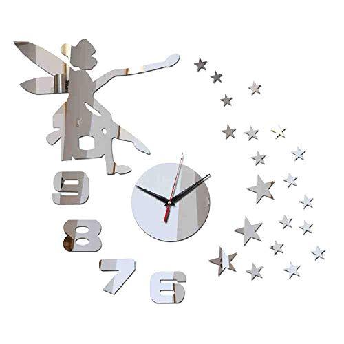 JPDP Quartz Horloge New Real Large Diamond Mirror Reloj de pared Reloj Diseño seguro Pegatinas Diy Relojes de lujo Inicio,Black