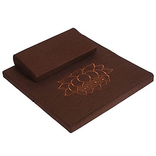 Stor zafu och zabuton meditation kudde, kvadratisk handgjord meditation matta, bärbar vikbar golv...