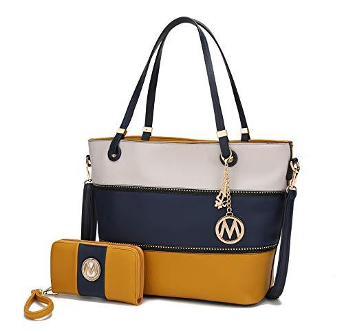 Mia K Collection Tote Satchel Handbag for Women, Wristlet Wallet Set – PU Leather Bag – Top Handle Shoulder Purse Ivory-Navy