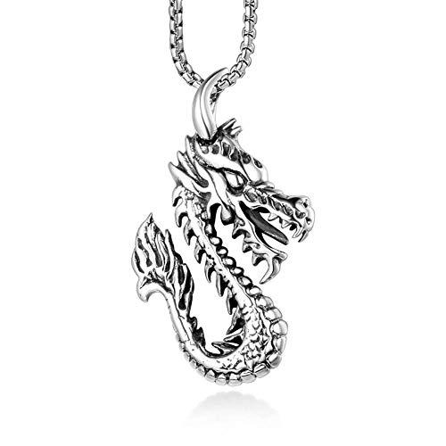 Collares Colgante Joyas Dragon Collares Pendientes Historia De La Vendimia Moda Collar Masculino De Acero De Titanio-Silver_with_60Cm_Chain