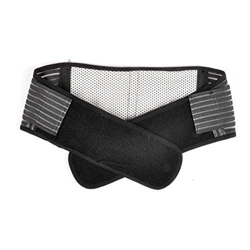 Tinsky - Fascia elastica regolabile per supporto lombare, auto-riscaldante, terapia magnetica, doppio strappo, taglia XL, colore: nero, Size XL