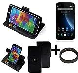 K-S-Trade® Case Schutz Hülle Für -Doogee X6S- + Bumper Handyhülle Flipcase Smartphone Cover Handy Schutz Tasche Walletcase Schwarz (1x)