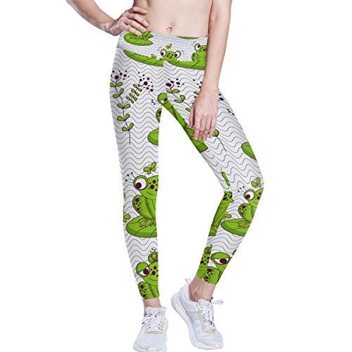 FANTAZIO Pantalones de yoga con diseño de ranas y libélulas de...
