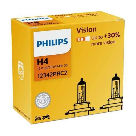 Philips H4 12342PRC2 Autoscheinwerfer, 12 V, 60 / 55 W, P43t-38 Vision, 2 Stück