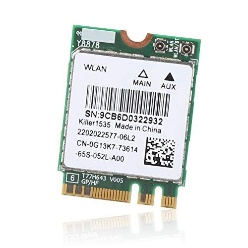 Annadue 802.11Ac Ngff M.2 867Mbps Bluetooth 4.1 2 4GHz Tarjeta de Red Tarjeta de Red inalámbrica para Juegos para Killer Wireless-AC 1535 Dual Band