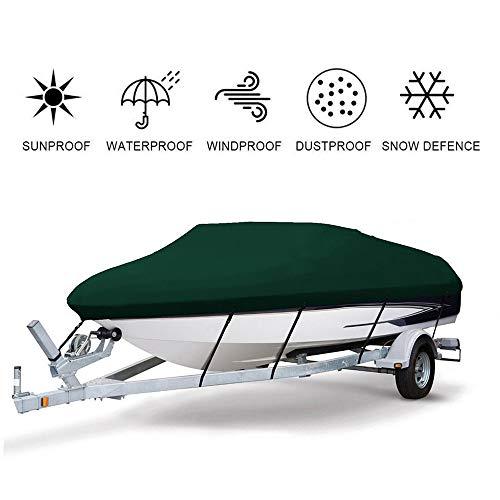 FBKPHSS 17-27FT Copertura per Barca, Impermeabile 420D Tessuto Oxford Telo Copribarca con Protezione UV Imbarcazione Ricovero per V-Hull Tri-Scafo Bass Boat,Verde,17to19ft