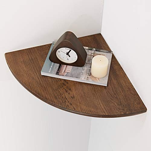 Eckregal aus Holz 1 Stück, runde Enden, walnuss, Bücherregal, Ausstellungsregal, für Schlafzimmer Massivholz ,Radius 40 cm