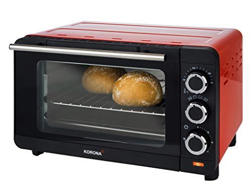 Korona 57005 Toastofen | rot | 14 Liter | Mini Ofen mit herausnehmbaren Krümelblech | kleiner Backofen