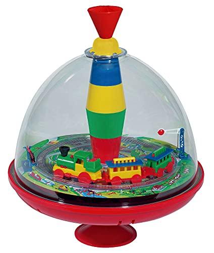 Bolz panoramique Ø 19 cm. Volant en Plastique, Pompe Classique, Toupie Musique avec Locomotive, Gyroscope avec piédestal, Développe l'apprentissage pour Enfants à partir de 18 Mois, 6790, Coloré