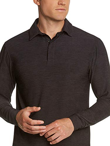 Three Sixty Six Men's Dry Fit Long Sleeve Polo Golf Shirt, Moisture Wicking, UPF 30 and 4 Way Stretch Pure Black