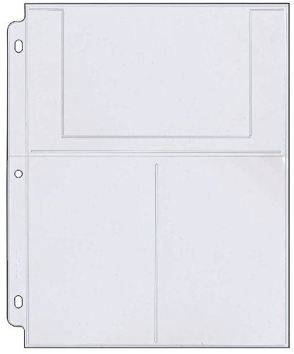 """StoreSMART - Photo/Postcard Page for 3-Ring Binders - Archival-Safe Plastic - Three 4"""" x 6"""" Pocket - Holds six Photos/Postcards - 25 Pack - LC46-25"""