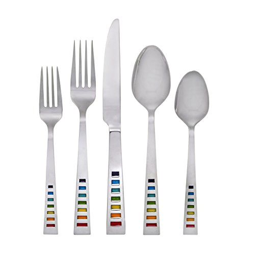 Fiesta Celebration 20-Piece Flatware Silverware Set, Service for 4, Stainless Steel, Includes Forks/Knife/Spoons