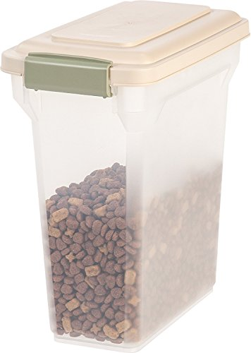IRIS Premium Airtight Pet Food Storage Container, 12.5-Pounds, Almond