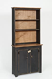 Furniture Barn USA Primitive Rustic Country Wooden Hutch with Shelves and Cabinet -Black