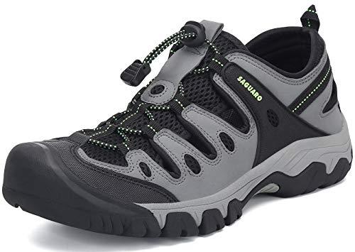 Sommer Sandalen Herren Outdoor Wanderschuhe Atmungsaktiv rutschfest Verschleißfest Outdoorsandalen Wasserdicht Schnellverschluss Grau 40