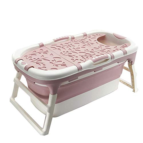 LYATW Tragbare Kinder Folding Badewanne Pool Große freistehende Eckbadewanne Badewanne Eimer for Erwachsene/Ältere SPA Aufstockung, Lange Isolations Zeit mit (Color : Pink)