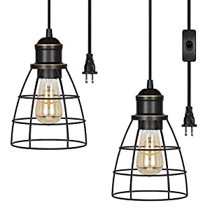 DEWENWILS 2 Pack Plug in Pendant Light, Hanging Lights with 15FT Cord, Industrial Pendant Light Fixtures for Bedroom, Kitchen Island, Dining Hall, E26 Base Socket, UL Listed