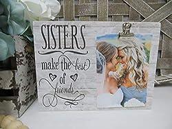 Yilooom Bilderrahmen für Schwestern, Schwestern Machen das Beste aus Freunden, Schwesterngeschenk, Schwester, Brautjungfer, Fotorahmen