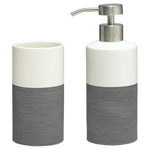 Sealskin Doppio Set conjunto Vaso y Dispensador de Jabón, Porcelana, Gris