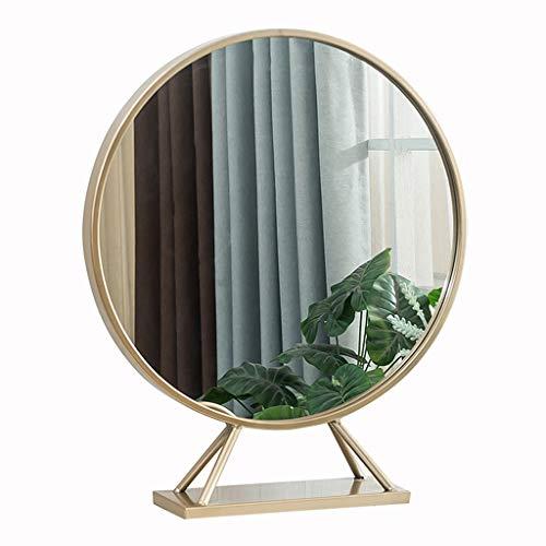 Dressing Mirror Élégant Miroir Rond En Métal Miroir De Bureau Miroir Vertical Pour Hôtel Miroir Commode Pour Chambre À Coucher Miroir HD Simple (Color : Gold, Size : 30cm)