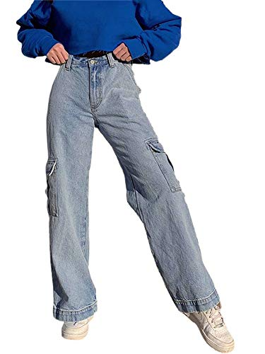 Women Fashion Butterfly Wide Leg High Waist Denim Pants Stretchy Baggy Loose Streetwear Jeans (Blue, S)