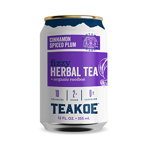 TEAKOE Cinnamon Spiced Plum Tea | Spiced Plum Sparkling Tea | Non-Caffeinated Herbal Iced Tea | Organic Hibiscus, Rooibos, Cinnamon, Clove & Vanilla Flavors | Only 55 Calories (12/12 fl oz Tea Cans)