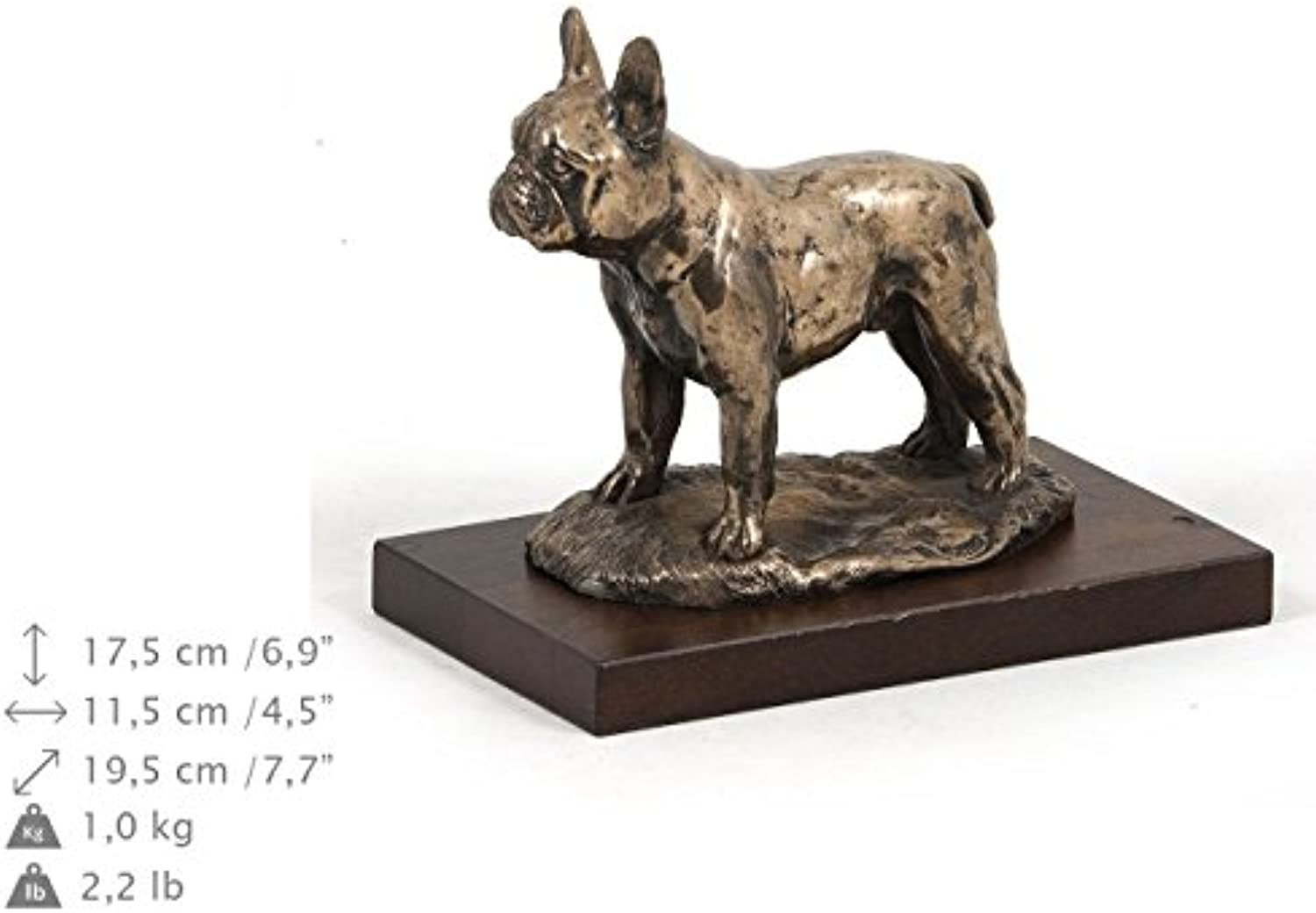 French Bulldog, Hund, Bronze, Statue, Holzsockel, liegend, Limitierte Edition, Art Dog