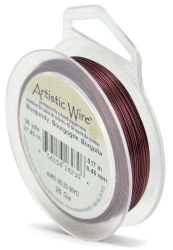 Artistic Wire Beadalon Fil de cuivre Calibre 26 27,43 m de Fil de Fer Bordeaux
