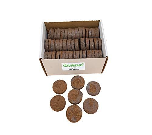 Pellets de fibra de coco Groweasy para semillas de plantas iniciales. Pellets de tierra comprimida de 100x36 mm fáciles de usar envueltos en tela no tejida