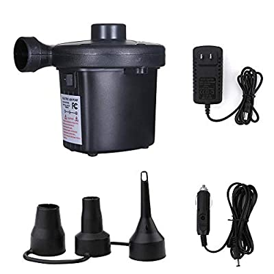 LALAHEI Multi-fuction Quick-Fill Electric Air Pump with 3 Nozzles 100-240V AC/12V DC Indoors and Outdoors for Air Mattress Airbed Inflatable Pool Toys Boat & More