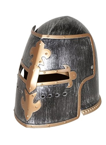 Nicky Bigs Novelties Medieval Knight Helmet Costume Headwear Accessory, Pewter, One Size Silver