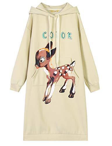 ELFSACK dames lange mouwen Kerstmis Elk patroon capuchon lang hooded sweatshirt jurken sleuf hoodies