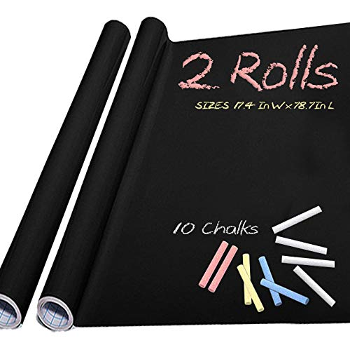 """Chalkboard Paper 2 Rolls- 10 Colored Chalk - Chalkboard Vinyl Sticker Wallpaper (17.4"""" x 78.7"""")"""