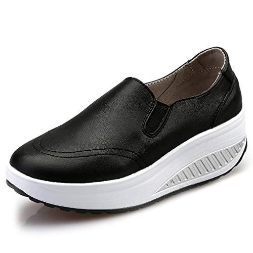 Solshine Damen Einfach Leder Bequem Erhöhte Sportliche Loafers Freizeitschuhe schwarz 37 EU / 4 UK / 6 US