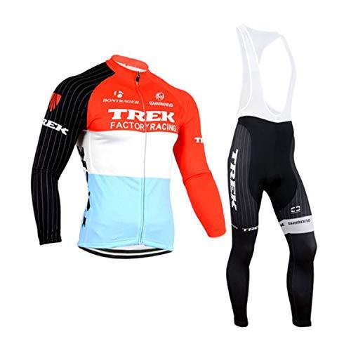 ADKE Hombres Jerseys Maillot Ciclismo Pantalones Largos Mangas Largas de Ciclismo Ropa Maillot para Deportes al Aire Libre Ciclo Bicicleta (M, TREKRED)