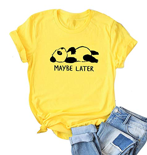 Womens Graphic Tee Funny Bear Tees T-Shirts Tops with Active Yellow 2XL