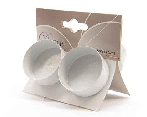 JB 4 Teelichthalter für Kränze zum Stecken Advent Weihnachten 4,2 cm Durchmesser Weiss