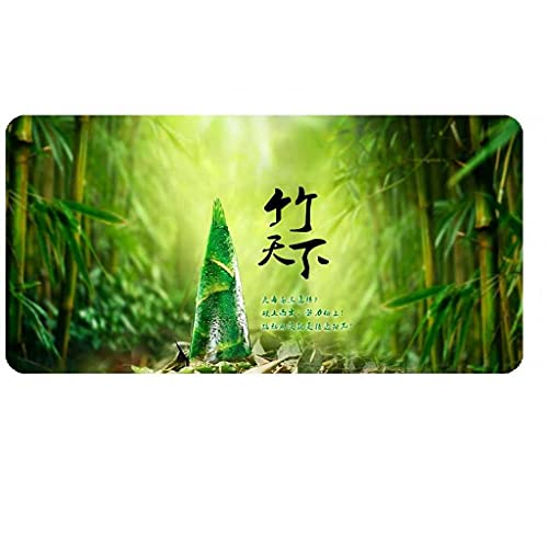 JXSFRH Extended Large Gaming Mouse Pad Green Bamboo Forest Landscape Non-Slip Water-Resistant Rubber Base Computer Keyboard Mouse Mat with Stitched Edge for Gamer Office 31.5 x 11.8-inch 2mm
